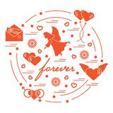 Cute vector illustration with different love symbols: hearts, ai. R balloons, postal envelope, angel and other arranged in a circle. Romantic collection Stock Image