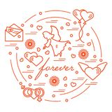 Cute vector illustration with different love symbols: hearts, ai. R balloons, postal envelope, angel and other arranged in a circle. Romantic collection Stock Photos