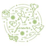 Cute vector illustration with different love symbols: hearts, ai. R balloons, postal envelope, angel and other arranged in a circle. Romantic collection Royalty Free Stock Photography