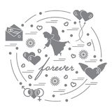 Cute vector illustration with different love symbols: hearts, ai. R balloons, postal envelope, angel and other arranged in a circle. Romantic collection Royalty Free Stock Photo