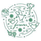 Cute vector illustration with different love symbols: hearts, ai. R balloons, postal envelope, angel and other arranged in a circle. Romantic collection Royalty Free Stock Image