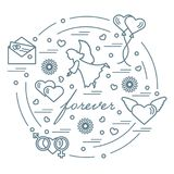 Cute vector illustration with different love symbols: hearts, ai. R balloons, postal envelope, angel and other arranged in a circle. Romantic collection Stock Images