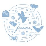 Cute vector illustration with different love symbols: hearts, ai. R balloons, postal envelope, angel and other arranged in a circle. Romantic collection Royalty Free Stock Images