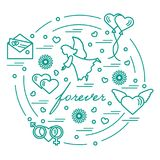 Cute vector illustration with different love symbols: hearts, ai. R balloons, postal envelope, angel and other arranged in a circle. Romantic collection Stock Photo