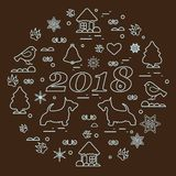 Cute vector illustration of different new year and Christmas symbols arranged in a circle. Winter elements made in line style. vector illustration