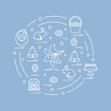 Cute vector illustration with different symbols for Easter arran Stock Photo