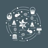Cute vector illustration with different symbols for Easter arranged in a circle. Including icons of simnel cake, lily, baskets, e. Ggs and other. Design for stock illustration