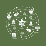 Cute vector illustration with different symbols for Easter arranged in a circle. Including icons of simnel cake, lily, baskets, e. Ggs and other. Design for vector illustration