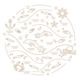 Cute vector illustration with dolphins, octopus, fish, anchor, h. Elm, waves, seashells, starfish, crab arranged in a circle. Design for banner, poster or print Royalty Free Stock Photo