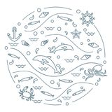 Cute vector illustration with dolphins, octopus, fish, anchor, h. Elm, waves, seashells, starfish, crab arranged in a circle. Design for banner, poster or print Royalty Free Stock Photography