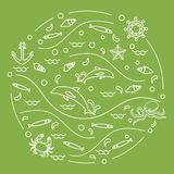 Cute vector illustration with dolphins, octopus, fish, anchor, h. Elm, waves, seashells, starfish, crab arranged in a circle. Design for banner, poster or print Stock Photo