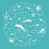 Cute vector illustration with dolphins, octopus, fish, anchor, h. Elm, waves, seashells, starfish, crab arranged in a circle. Design for banner, poster or print Royalty Free Stock Image