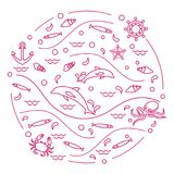 Cute vector illustration with dolphins, octopus, fish, anchor, h. Elm, waves, seashells, starfish, crab arranged in a circle. Design for banner, poster or print Stock Photos