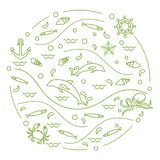 Cute vector illustration with dolphins, octopus, fish, anchor, h. Elm, waves, seashells, starfish, crab arranged in a circle. Design for banner, poster or print Royalty Free Stock Photos
