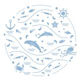 Cute vector illustration with dolphins, octopus, fish, anchor, h. Elm, waves, seashells, starfish, crab arranged in a circle. Design for banner, poster or print Stock Images