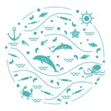 Cute vector illustration with dolphins, octopus, fish, anchor, h. Elm, waves, seashells, starfish, crab arranged in a circle. Design for banner, poster or print Stock Image