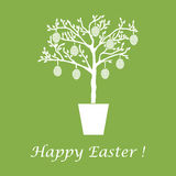 Cute vector illustration with Easter eggs decorated tree. Design for banner, poster or print Royalty Free Stock Image