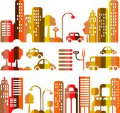 Cute vector illustration of an evening city street vector illustration