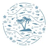Cute vector illustration with fish, island with palm trees, anch. Or, waves, seashells, starfish,  arranged in a circle. Design for banner, poster or print Royalty Free Stock Photos