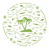 Cute vector illustration with fish, island with palm trees, anch. Or, waves, seashells, starfish,  arranged in a circle. Design for banner, poster or print Stock Photo