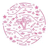 Cute vector illustration with fish, island with palm trees, anch. Or, waves, seashells, starfish,  arranged in a circle. Design for banner, poster or print Royalty Free Stock Image