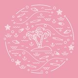 Cute vector illustration with fish, island with palm trees, anch. Or, waves, seashells, starfish,  arranged in a circle. Design for banner, poster or print Stock Photos