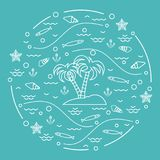 Cute vector illustration with fish, island with palm trees, anch. Or, waves, seashells, starfish,  arranged in a circle. Design for banner, poster or print Royalty Free Stock Photo