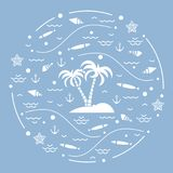 Cute vector illustration with fish, island with palm trees, anch. Or, waves, seashells, starfish,  arranged in a circle. Design for banner, poster or print Stock Photography