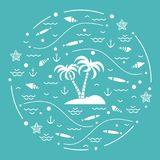 Cute vector illustration with fish, island with palm trees, anch. Or, waves, seashells, starfish,  arranged in a circle. Design for banner, poster or print Royalty Free Stock Images