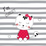 Cute vector  illustration with funny cartoon cat. For t-shirt, sleeping wear design Royalty Free Stock Photos