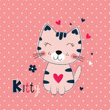 Cute vector illustration with funny cat for kids design. Cute vector illustration with funny cat over pink background for kids design Stock Images