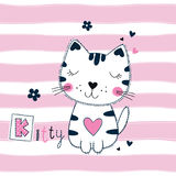 Cute vector illustration with funny cat for kids design. Cute vector illustration with funny cat over striped pink background for kids design Royalty Free Stock Photos
