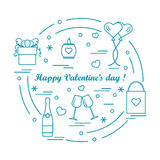 Cute vector illustration: gifts, balloons, stemware, candle, bag. Bottle with hearts and snowflakes arranged in a circle. Design for banner, flyer, poster or Royalty Free Stock Photos