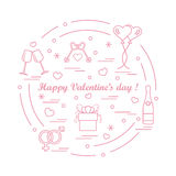 Cute vector illustration: gifts, balloons, stemware, keys, gende. R symbols, bottle with hearts and snowflakes arranged in a circle. Design for banner, flyer Stock Photography