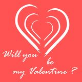Cute vector illustration with heart and inscription. Design for banner, flyer, poster or print. Greeting card Valentine\'s Day Royalty Free Stock Photos