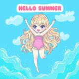 Beautiful vector card. Cute vector illustration. Kawaii Anime girl. Big eyes. Use for postcards, print on clothes or other things. Hello Summer Stock Photo
