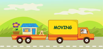 Moving Truck and Trailer Stock Photo