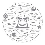 Cute vector illustration with octopus, fish, island with palm tr. Ees and a hammock, helm, waves, seashells, starfish, crab arranged in a circle. Design for Royalty Free Stock Image