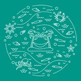 Cute vector illustration with octopus, fish, island with palm tr. Ees and a hammock, helm, waves, seashells, starfish, crab arranged in a circle. Design for Stock Photos
