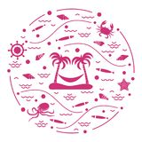 Cute vector illustration with octopus, fish, island with palm tr. Ees and a hammock, helm, waves, seashells, starfish, crab arranged in a circle. Design for Stock Image