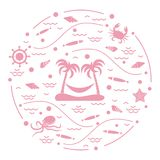Cute vector illustration with octopus, fish, island with palm tr. Ees and a hammock, helm, waves, seashells, starfish, crab arranged in a circle. Design for Royalty Free Stock Photography