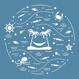 Cute vector illustration with octopus, fish, island with palm tr. Ees and a hammock, helm, waves, seashells, starfish, crab arranged in a circle. Design for Royalty Free Stock Photos