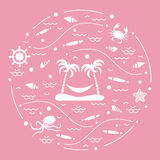 Cute vector illustration with octopus, fish, island with palm tr. Ees and a hammock, helm, waves, seashells, starfish, crab arranged in a circle. Design for Royalty Free Stock Images
