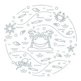 Cute vector illustration with octopus, fish, island with palm tr. Ees and a hammock, helm, waves, seashells, starfish, crab arranged in a circle. Design for Stock Photo
