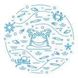 Cute vector illustration with octopus, fish, island with palm tr. Ees and a hammock, helm, waves, seashells, starfish, crab arranged in a circle. Design for Stock Images