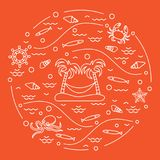 Cute vector illustration with octopus, fish, island with palm tr. Ees and a hammock, helm, waves, seashells, starfish, crab arranged in a circle. Design for Royalty Free Stock Photo