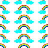 Cute vector illustration with rainbow and blue clouds. Seamless pattern design for children stock illustration