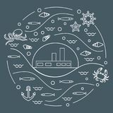 Cute vector illustration with ship, octopus, fish, anchor, helm,. Waves, seashells, starfish, crab arranged in a circle. Design for banner, poster or print Royalty Free Stock Photo