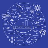 Cute vector illustration with ship, octopus, fish, anchor, helm,. Waves, seashells, starfish, crab arranged in a circle. Design for banner, poster or print Royalty Free Stock Photos