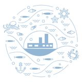 Cute vector illustration with ship, octopus, fish, anchor, helm,. Waves, seashells, starfish, crab arranged in a circle. Design for banner, poster or print Royalty Free Stock Images